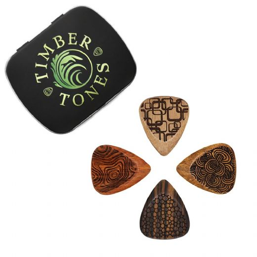Laser Tones Grip Mixed Tin of 4 Guitar Picks